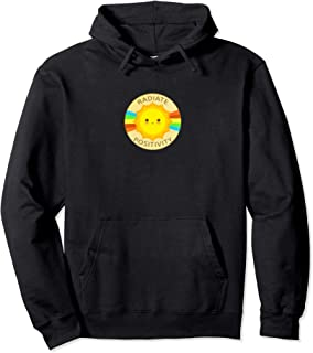 Radiate Positivity Be Happy Good Vibes Cute Sun & Rainbow Pullover Hoodie