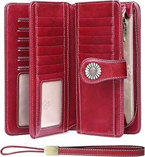 Large RFID Wallet for Women,Passport Checkbook Travel Zipper Purse Classic Credit Card Wallet With 12 Card Slots