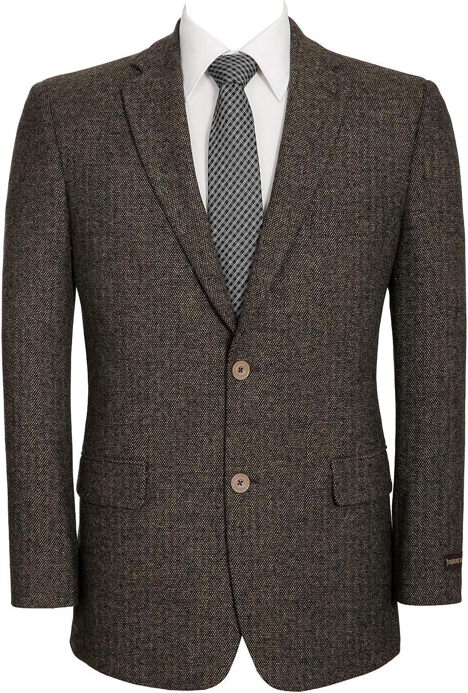 QSYJ Men's Premium Wool Blend Business Blazer Suit Jacket Brown