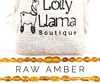 Raw Amber Teething Necklace for Babies, Anti Inflammatory Baby Baltic Amber Necklace for Teething Pain Relief (Honey)
