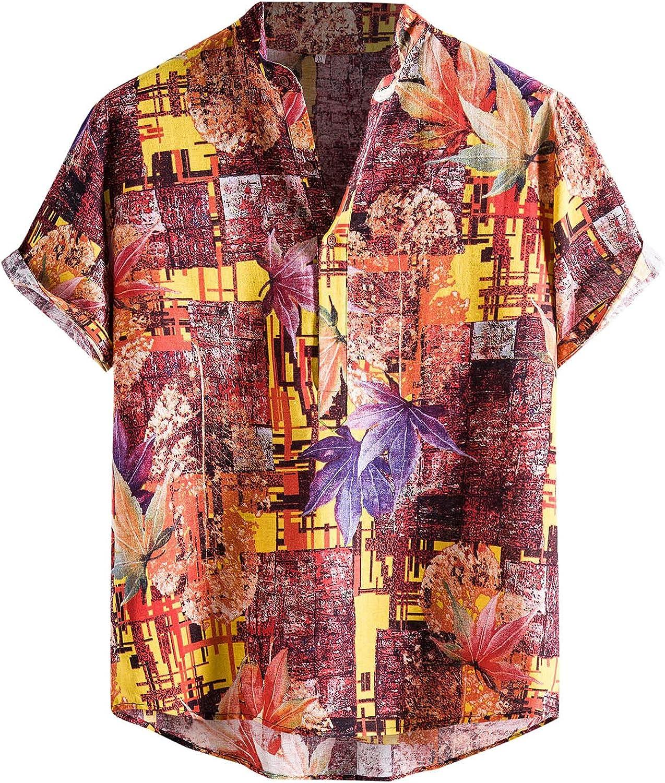 Men's Hawaiian Shirts Floral Print Funky Casual Button Down Short Sleeve Shirts Summer Vacation Beach Shirts Blouse Tops