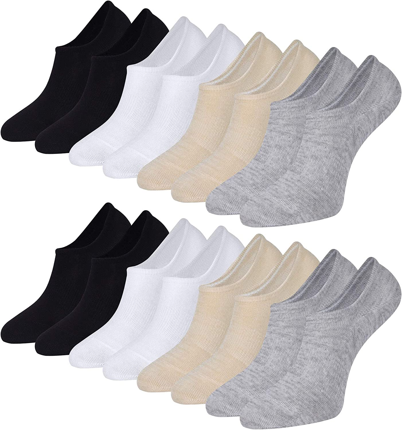 Bamboo No Show Socks for Women and Men Non Slip Low Cut Socks Ankle Footies Loafers Casual Boat Shoes Liners 8 Pairs