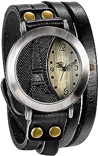 JewelryWe Mens Vintage Wrist Watch Multilayer Wrap Leather Quartz Watch Eiffel Tower Pattern Wristwatch for Halloween