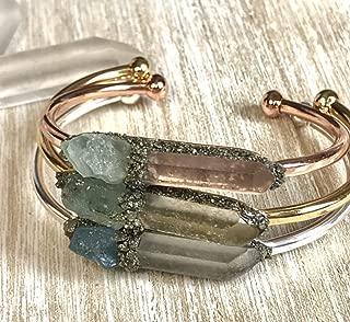 Aquamarine march birthstone bracelet gemstone bangle crystal cuff birthday raw boho jewelry stone