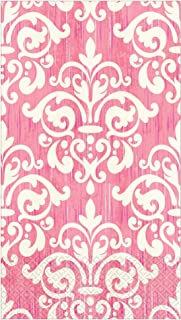 Pink and White Damask Guest Towels - 32 CT | Decorative Paper Napkins for Buffet Kitchen or Bathroom Fingertip Hand Towels...