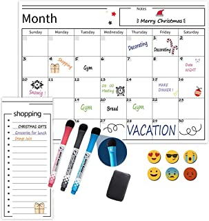 Magnetic Whiteboard Monthly Calendar and Weekly Planner Set Size 40cm x 30cm for Fridge, Including Shopping List 7cm x 30c...