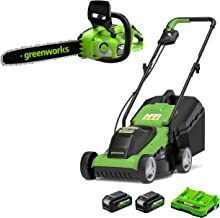 Greenworks 2 X 24V brushless Chainsaw 36cm Cutting Length Include 2 x 4Ah Battery, Dual Slot Charger and 24V 33cm Cordless...
