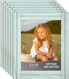 Icona Bay 8x10 Picture Frames, Rustic Picture Frame Set, Natural Real Wood Frames, Set of 6 Cottage Collection (6 Pack, Eggshell Blue)