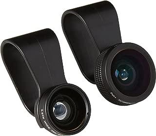 Apexel 3 in 1 Clip-on 180 Degree Full Screen Fisheye +0.67x Wide Angle + 10x Macro Lens for iPhone 6/ 6Plus, iPhone 5/5S/5C/4 Samsung HTC Sony LG (No Dark Circle by the Fisheye Lens)