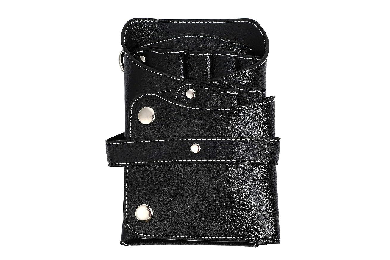ホラー腹部レンチケーセブン シザーバッグ 6ポケット レザー ベルト付き ブラック