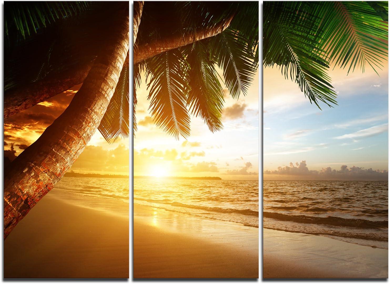 Designart 新色追加 Beautiful Beach Under 数量限定 Seashore Canvas Art Palms-Modern