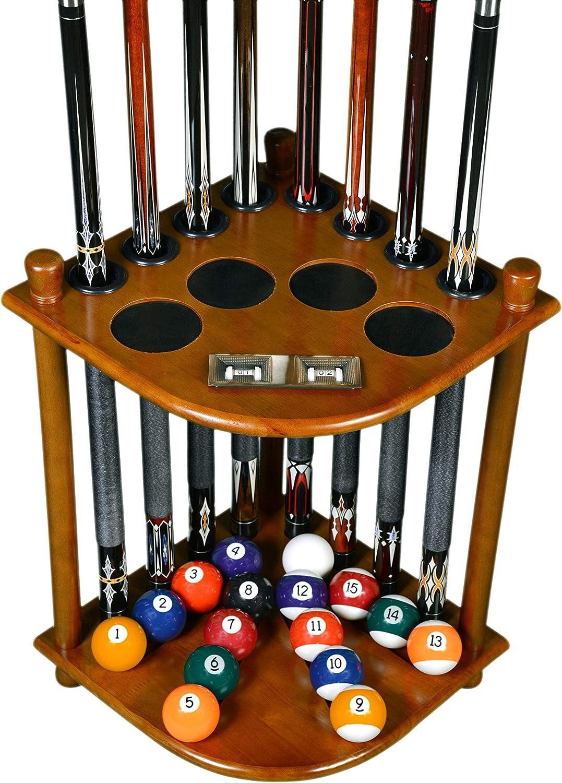 Billiard Stick /& Ball Floor Rack Black or Oak Finish Mahogany 10 Pool Cue Rack Only Holder Choose Mahogany