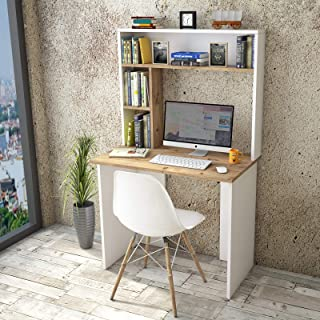 Yurupa Table de Bureau avec Etagere,Bureau avec étagère,Bureau d'ordinateur,Meuble Bureau Ordinateur,Bureau Informatique,T...