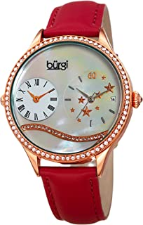 Burgi Swarovski Crystal Encrusted Women's Watch with Skinny Leather Strap - Dual Time – Mother of Pearl Dial with Wave Setting Crystals BUR184