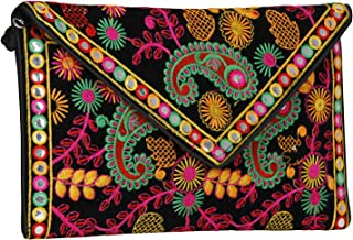 Vanya Handicraft Collection Women's Evergreen Handmade Embroidered Banjara Foldover Sling -Cross Body Clutch Bag (Black, Orange and Multicolour)