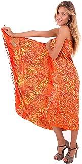 LA LEELA Women's Summer Beach Wrap Cover Up Maxi Skirt Sarong Wrap Hand Paint