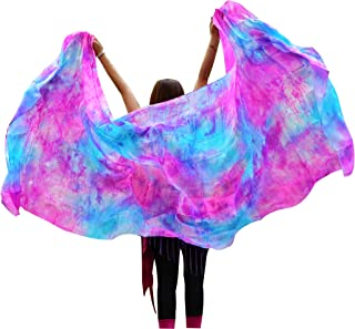 "Winged Sirenny Tie-dye Colors Belly Dance Silk Veil, Light 5 Mommes Real Silk, 2.7m x 1.1m (3'x43""), Hand Rolled Edges"
