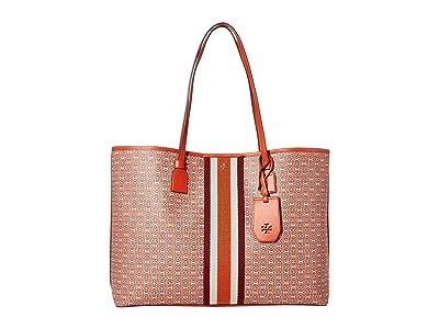 Tory Burch Gemini Link Canvas Tote (Canyon Orange Gemini Link) Handbags