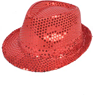 adeacb92 Buckletown Sequined Fedora Hat (Red)
