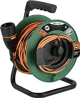 Electraline 49237 Kabeltrommel 25M 3G1 mit Steckdose Electralock, Stromanschlussverriegelungssystem da er ein versehentliches Trennen des angeschlossenen Geräts während seiner Verwendung verhindert