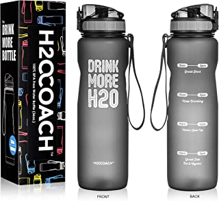 H2OCOACH Motivational Water Bottle with Time Marker | Measurements | BPA-Free | Large 1.0L, 36oz