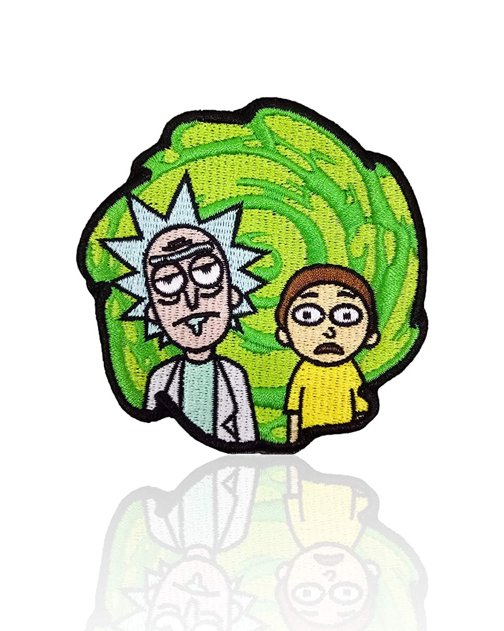 Rick & Morty Patch Iron on & Sew on Cartoon Green Swirl Embroidered Applique Decoration DIY Craft for Tshirts, Denim Jackets, Hats, Bags