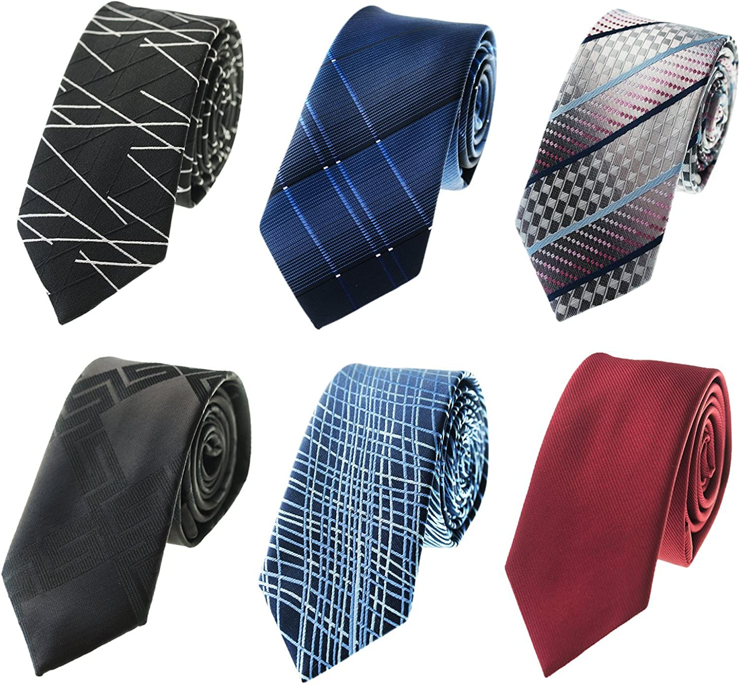 Tiger Mama 6pcs Business Skinny Necktie Tie Mixed Lot