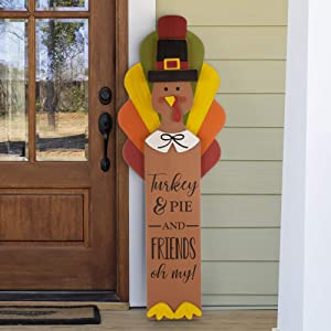 """glitzhome Thanksgiving Porch Sign Turkey Porch Sign Decor Wooden Hanging Turkey Decor for Thanksgiving Fall Harvest Rustic Turkey Standing Decor, 40""""H"""