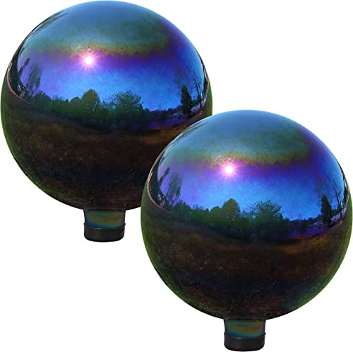 wholesale Sunnydaze Gazing Globe Glass Mirror outlet sale Ball, 10 Inch, Stainless online Steel Rainbow, 2 Pack online sale