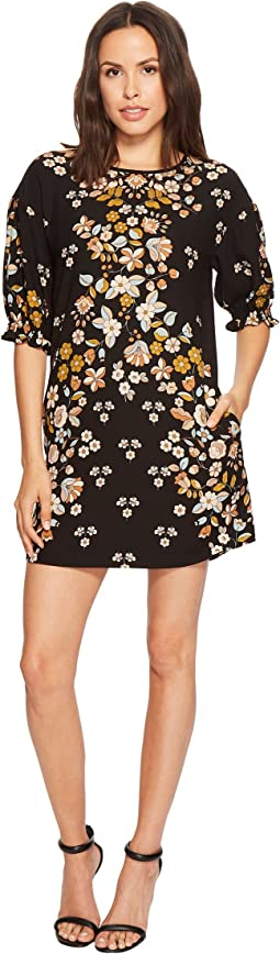 Printed Shift Dress with Blossom Short Sleeve