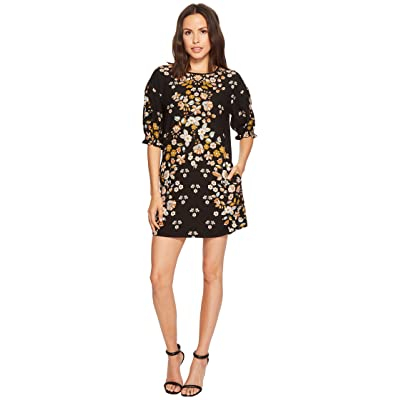 Laundry by Shelli Segal Printed Shift Dress with Blossom Short Sleeve (Black) Women