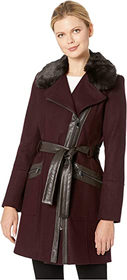 Asymmetrical Belted Wool w/ Lux Faux Fur Collar & PU Detail