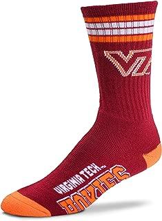 For Bare Feet Mens NCAA 4 Stripe Deuce Crew Socks