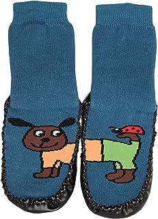 Zapatillas/calcetines con suela de piel, diseño de animales divertidos