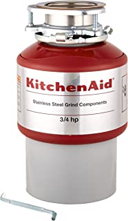 KitchenAid KCDI075B 3/4 hp Continuous Feed Food Waste Disposer, Red