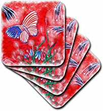 3dRose Patriotic Fantasy Butterfly and Stars-Soft Coasters, Set of 8 (CST_195390_2)