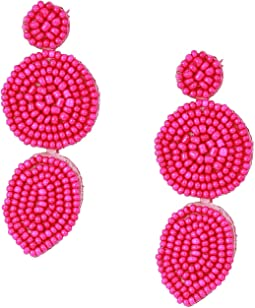 Linear Beaded Disc Earrings