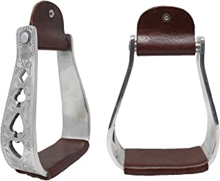 CHALLENGER Horse Saddle Stirrups Western Saddle Aluminium Engraved Oxbow 51183