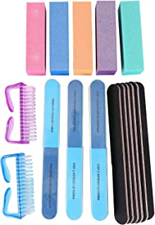 JVSISM 17Pcs Nail Files and Buffer Blocks for Manicure and Pedicure Set Nail Care Sanding Tool for Natural Gel Or Acrylic Nails