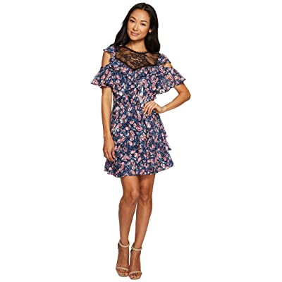 Rebecca Taylor Open Shoulder Tea Rose Dress (Royal Combo) Women