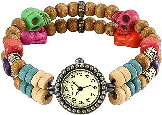 JewelryWe Women Retro Skull Wooden Beads Bracelet Watches Easy Reader Dial Wristwatch for Halloween