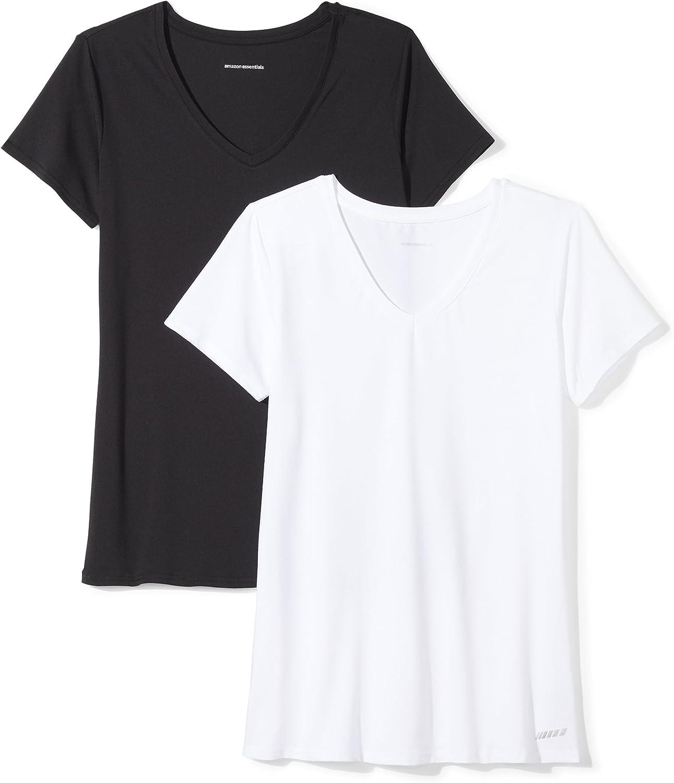 supreme Amazon Essentials Women's 2-Pack Tech Short-Sleeve V-Nec Stretch 35% OFF