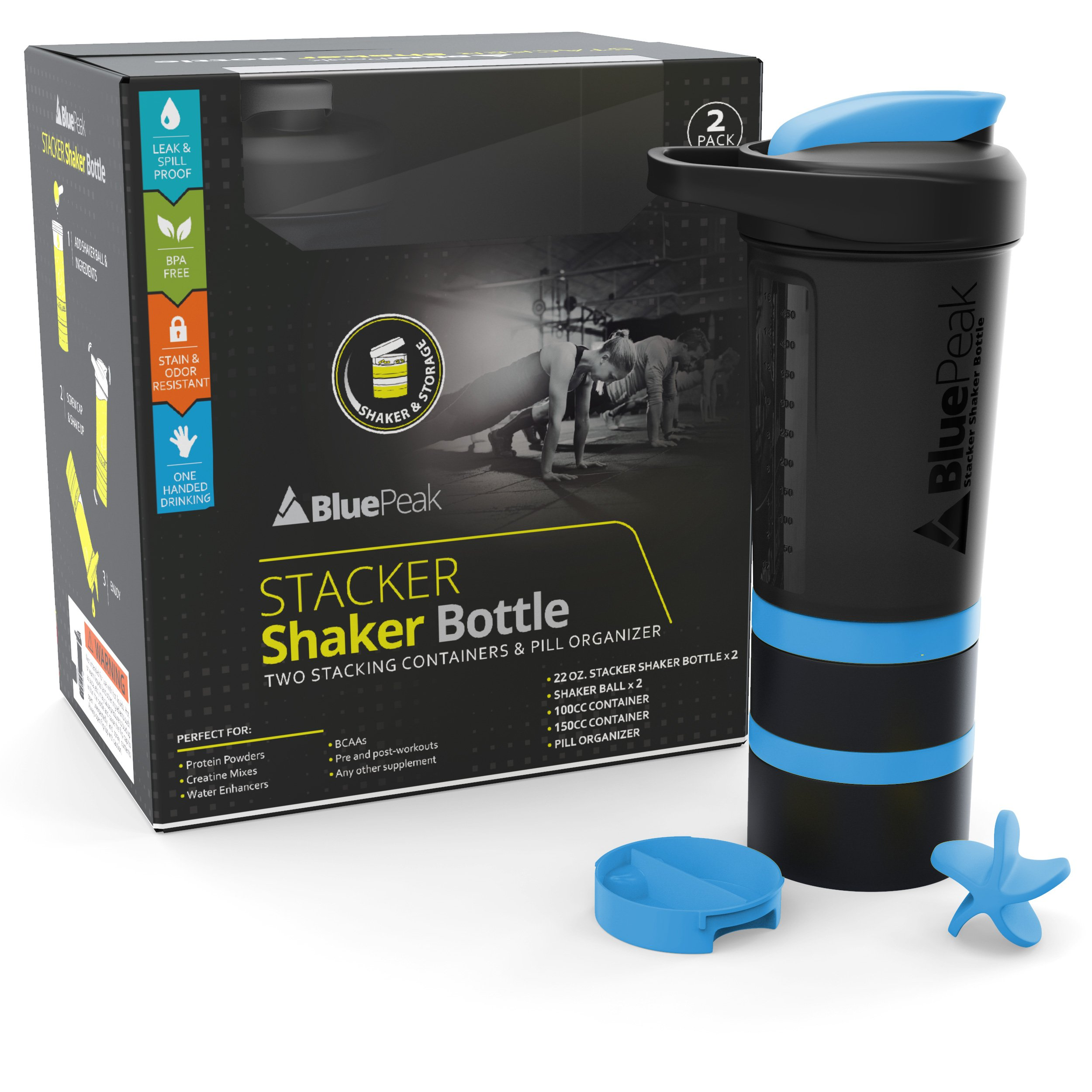 BluePeak 22 Ounce Attachable Containers Included