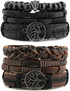Genuine Leather Tree of life Bracelets Men Women, Tiger...