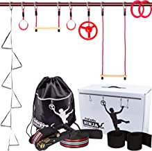 Ninja Warrior Training Equipment for Kids - 65 Foot Ninja Slackline Obstacle Course for Kids with 8 Obstacles: Monkey Bars, Fitness Gymnastic Rings, Climbing Rope Ladder, Spinning Wheel