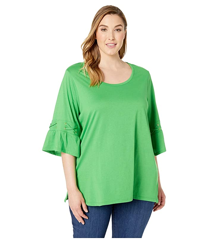 MICHAEL Michael Kors Plus Size Laced Sleeve Flare Tee (Clover) Women