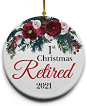 "1st Retired Christmas Ceramic Christmas Tree Ornament – Collectible Holiday Keepsake 2.875"" Round Ornament in Decorative G..."