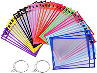 Puroma 35 Pack Dry-Erase Pockets Reusable Plastic Sleeves Assorted Colors Waterproof Pocket with 2 Rings for Classroom, Sc...