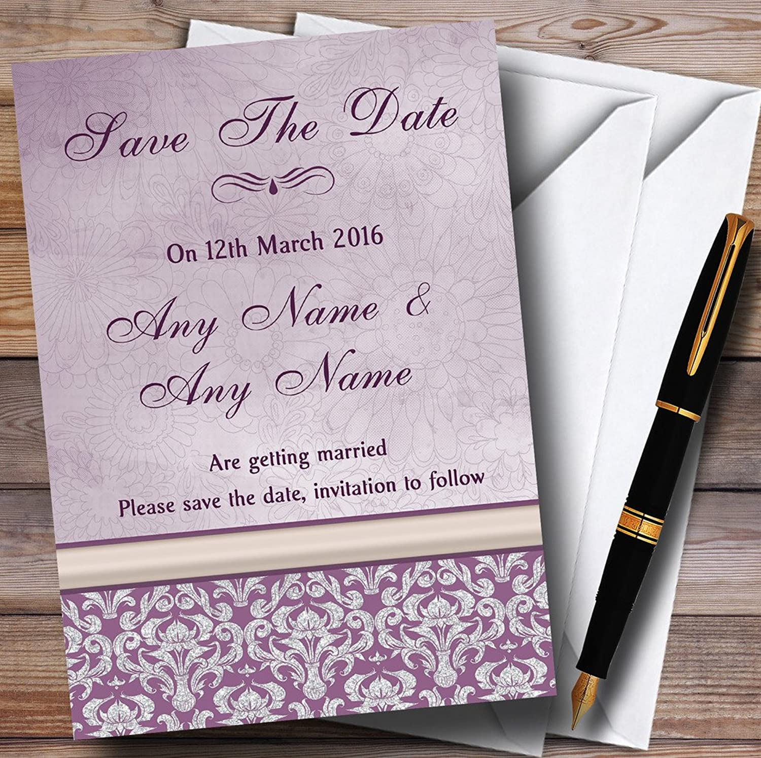 Lavender purplec Vintage Damask Pretty Personalised Wedding Stationery Save The Date Cards