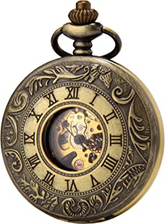 SEWOR Business Double Open Skeleton Pocket Watch Mechanical Hand Wind Movement Full Hunter Gift Bronze